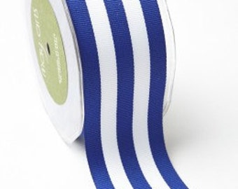 May Arts 2 Inch Grosgrain Horizontal Stripe Royal Blue/White Ribbon