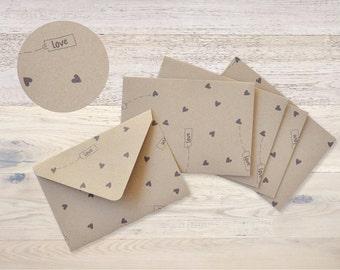 5 Envelopes Kraft Paper handmade Recycling