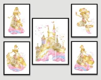 Set of 5 disney watercolor print Disney princess Disney castle Cinderella Ariel Belle Aurora Disney Wedding Gift Gold print Gold painting