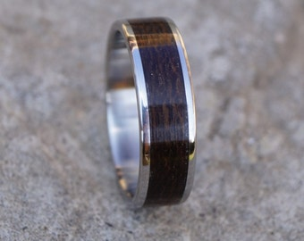 Stainless ring with ziricote wood inlay