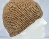 Hand Spun, Hand Knit Alpaca Winter Hat. Beanie, toque, fawn, tan, watch cap, winter cap.