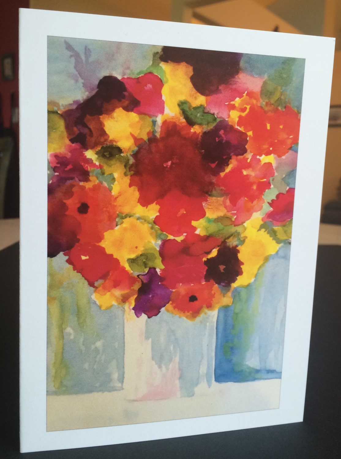 Watercolor greeting cards vase of flowers 5x7 single cards or sets gallery photo gallery photo kristyandbryce Gallery