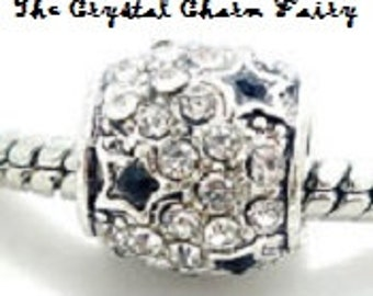 European Charm CRYSTAL CHARM with STARS Silver Bead Fits Large Hole Pandora European / Bracelets / Necklace