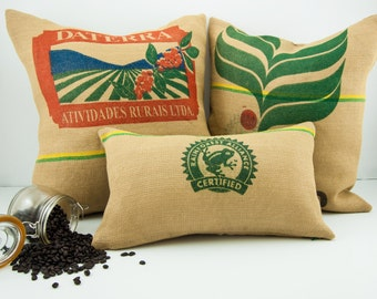 Upcycled Coffee Sack Pillows, Burlap pillows, Grain Sack pillows, Feed sack pillows, Vintage, Floor Pillows