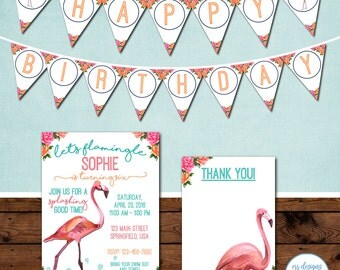 Flamingo Pool Party Package, Let's Flamingle, Flamingo Birthday Party Invitation