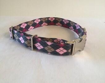 Pink/gray Argyle Dog Collar