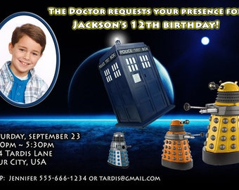 Dr Who Birthday Party Invite - 4x6 or 5x7 size - You Print and Save