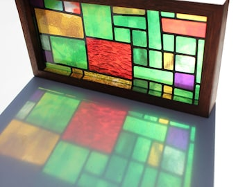 Modern Stained Glass Translucent Print Green And Copper Handmade Timber Light Box