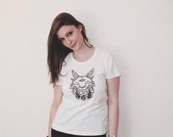 Handprinted Woman T-Shirt with devil/demon/flower motive/print black/white