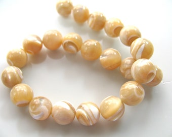 Mother of Pearl, natural beads, 22 beads, 8mm, 1mm drill holes- B 17