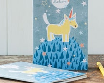 Unicorn Notebook for Children, Cute horse A6 journal, for kids + adults who love whimsical stationery, by Moobaacluck
