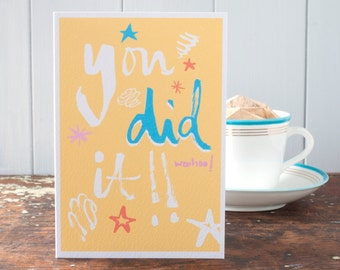 Congratulations on your exam results, You did it!, a graduation card, exam congratulations & good luck greeting card by InkPaintPaper
