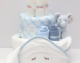 Baby Boy Gift Basket, Hooded Towel, Baby Shower Gift