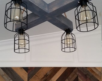 Rustic Wood Beam Chandelier, CrissCross X with metal cages and Edison bulbs