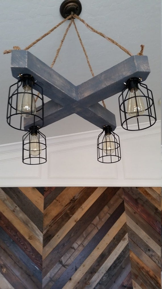 Rustic Wood Beam Chandelier Crisscross X With Metal Cages And