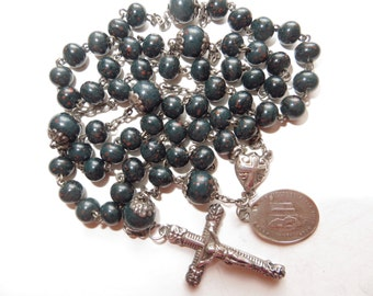 Rare Late 1800's Small Antique Bloodstone Glass Beads Rosary in St Silver-Medal