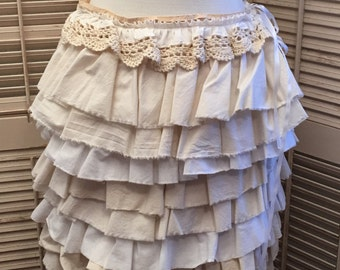Ruffles For Days Skirt~Medium Upcycled,Bohemian, Repurposed Skirt
