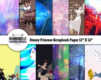 "Disney Princess Digital Paper Scrapbook Pages // 12"" X 12"" // Digital File Instant Download"