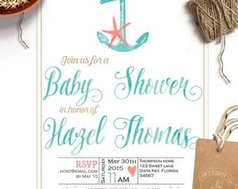 beach baby shower invitation unisex baby boy baby girl starfish anchor