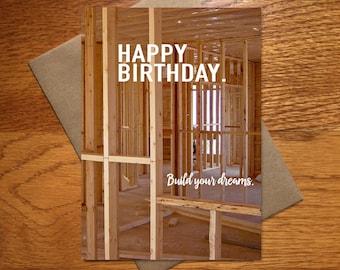 Birthday Card For Him / Dad Card / Guy Birthday Card / Builder Birthday Card / Construction Card / Home Builder Card / Renovation / 5x7
