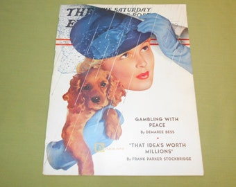 April 8 1939 Saturday Evening Post - Cover Art by Douglass Crockwell Lady & Dog