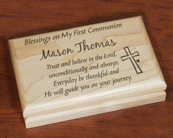 First Communion Engraved Keepsake Box, First Communion Gift, Custom Communion Gift