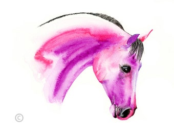 Beautiful Equine horse fairytalen pink  based print  from an original watercolour painting  sketch individually signed