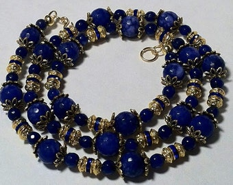 Blue and gold lapis necklace