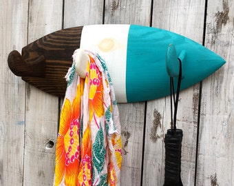 Surfboard Fin Towel Rack, Coat Rack, Beach Decor, Surf Decor, Bathroom Rack, Ocean Decor, Surf Fin Hook