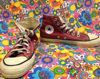 Reduced Price!  Vintage Red Converse Hi-Tops Made in USA Women's 5 1/2, Men's 3 1/2