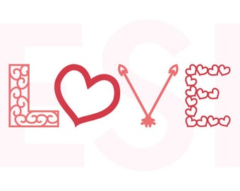 Love svg, word art, SVG, DXF,and EPS, for use in Silhouette Studio and Cricut Design Space. Valentine svg files, Arrow svg, Heart svg