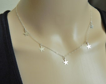 delicate star necklace, mini star necklace, sterling silver necklace, teeny tiny star necklace, silver star choker, statement necklace