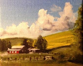 Original acrylic landscape, study, mini painting, original art, acrylic art, landscape painting, landscape art, tree art, cloud painting