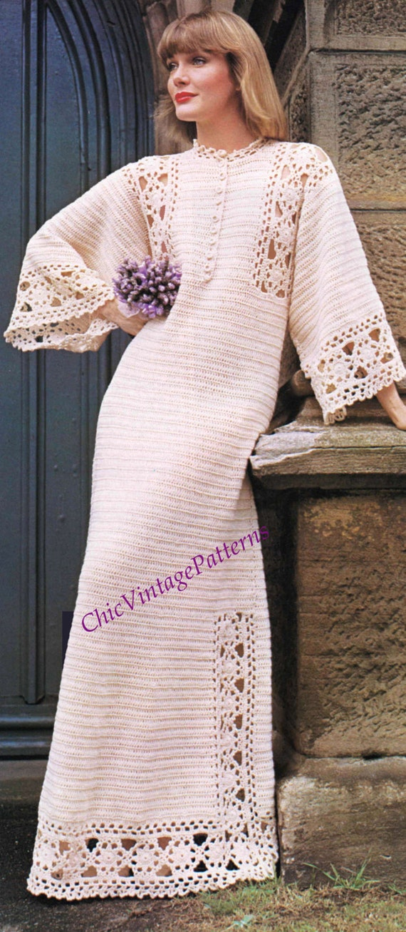 Crochet dress pattern ladies wedding dress pdf for Wedding dress patterns free download