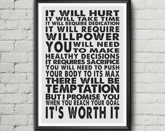 Fitness quote exercise motivation poster wall art print life's inspiration - digital download