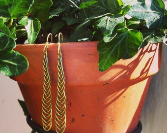 Pending braid gold. Golden Braid earrings