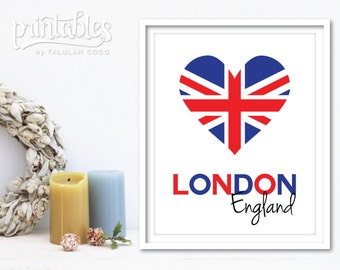 London Art Printable, British Flag Print, London Poster, London Wall Art, London Print, Instant Download London England Flag, English Decor