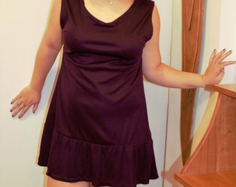 Women's custom clothing: Plum Low Back Ruffled Dress
