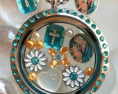 "Vintage Floating Gems, Mother Mary, Cross, Blue Zircon Teal Twist Top Stainless Steel Living Locket Floating Gems, 20"" Chain"