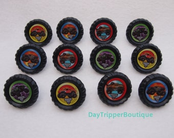 24 MONSTER TRUCK Jam Cupcake Ring Favor Supplies Rings Topper Birthday Grave Digger
