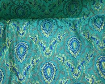 Brocade Fabric, Turquoise Blue Brocade, jacquard fabric, Art silk fabric, Indian Banarsi Brocade fabric, Indian Silk Fabric, wedding fabric
