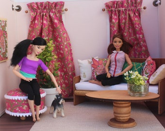 Blythe/Barbie Dollhouse- Miniature Pink/Green Curtains, Pillows, Ottoman, 1:6 Scale Accessories