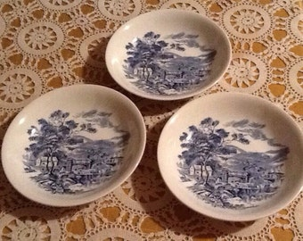 """Wedgewood Blue Countryside, Three 7 3/4"""" soup bowls, blue transferware, blue and white, mismatch, cottage"""