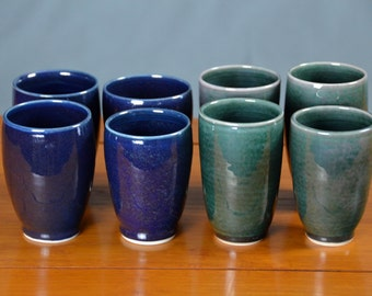Green Blue Ceramic Cup, Hand Thrown Porcelain Pottery, Handleless, Tumbler, Mugs, Tea, Wine Glass, Unique Gift, Mom   Caldwell Pottery