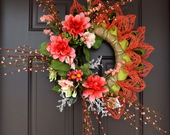 Spring Wreath Orange Flowers Beautiful Huge - Ella - Great Mother's Day Gift!