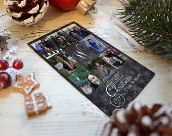 Christmas Card- Eight Photo Personalized- Snowflakes