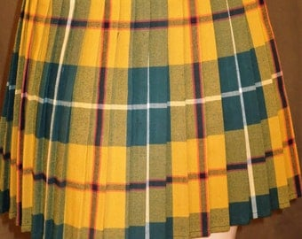 Elastic Waistband Yellow Green Plaid Pleated Halloween Skirt~Plaid Pleated Skirt~Custom Make Cosplay Sports Skirts@sohoskirts