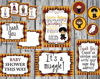 Harry Potter Baby Shower Package, Harry Potter Cupcake Topper, Harry Potter Thank You card, ABC Cards, PRINTABLE