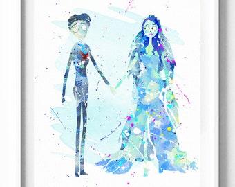 Corpse Bride Print, Tim Burton, Halloween Printable, Watercolor Art, Wedding Decor, Nursery Decor, Home Decor, Bridal Gifts, Wedding Gifts