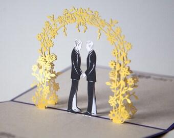 Wedding Day Grooms Pop Up Card, LGBT Wedding Card, Gay Wedding Card, Anniversary Card, Congratulations Newlyweds, Lovepop